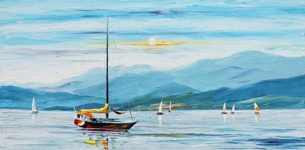 BLUE SKY original oil on canvas painting