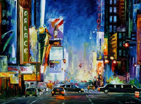 BROADWAY original oil on canvas painting