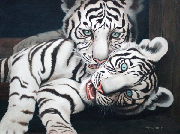 White Tiger original acrylic on canvas paint