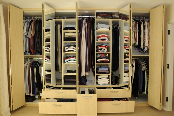 Traditional Wardrobe Designs with Wooden Material for Inspiration Mirrored Closet Door Folding Door Design Neat Organized