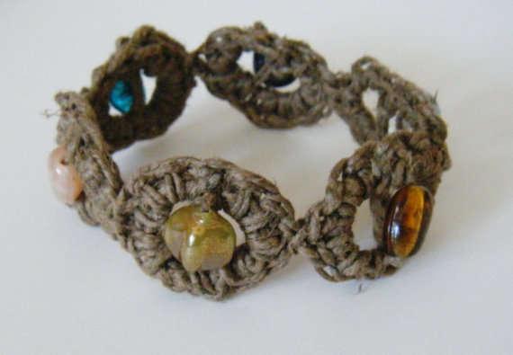 crochet beaded hemp bracelet
