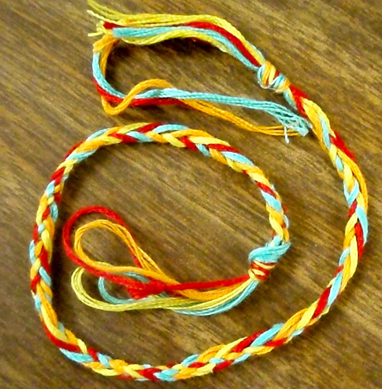 finger knitted friendship bracelet