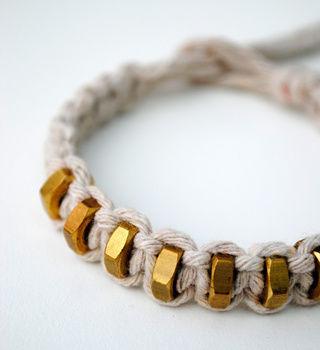 macrame string and hexnut bracelet
