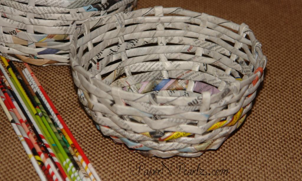 newspaper craft ideas basket weave