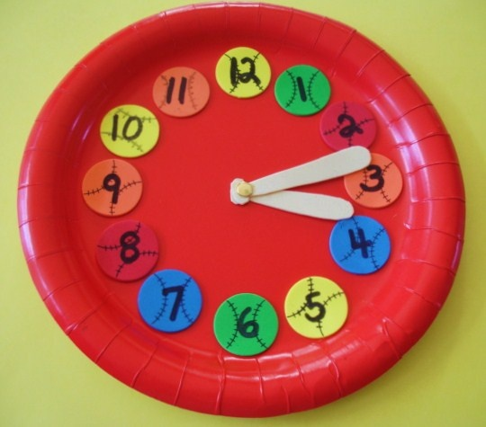 paper plate craft baseball clock