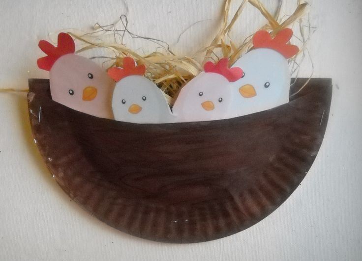 paper plate craft birds in the nest