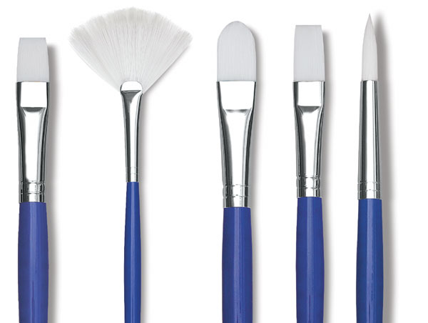 white synthetic sable brushes