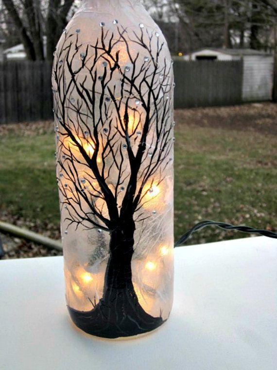Hand Painted Tree Centerpiece | Super Cool Wine Bottle Crafts and Ideas To DIY
