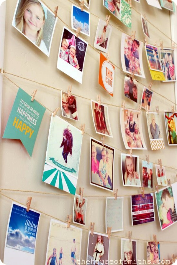 Unique wall photo display Ideas For You (19)