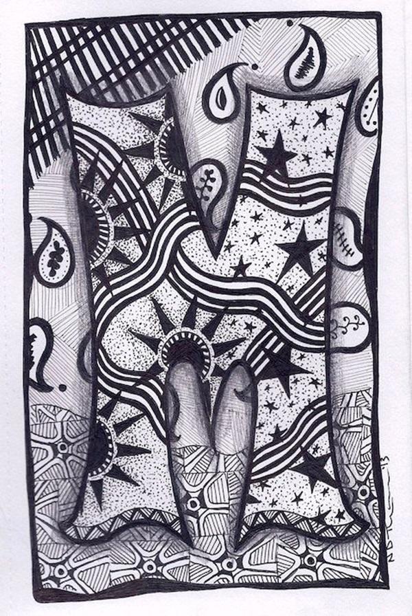 zentangle doodle letters letter doodles alphabet names lettering zebra drawings bunting etsy drawing tangle pages patterns lettre lettres dessin zentangles