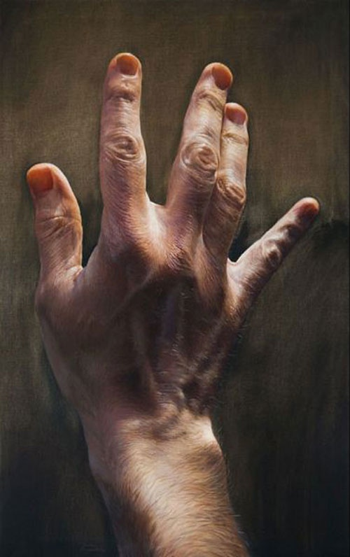 40 hyper realistic oil paintings bored art for Watercolor paintings of hands