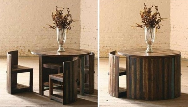 40 smart furniture projects to try this year for Round dining table with hidden chairs