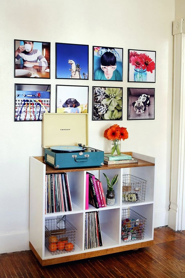 Unique wall photo display ideas for you 20