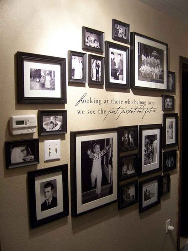 Unique wall photo display ideas for you 24