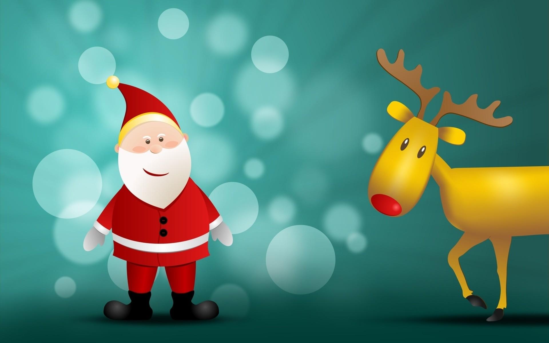 Санта клаус олени открытка