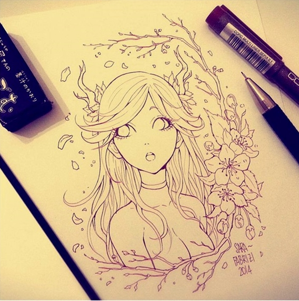 Amazing anime drawings and manga faces 7