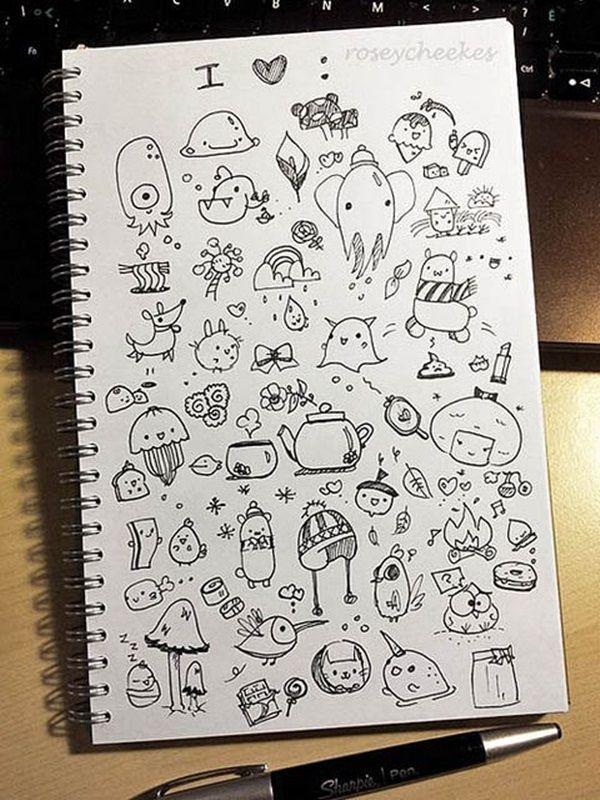 Рисунки чёрной гелевой ручкой в скетчбуке