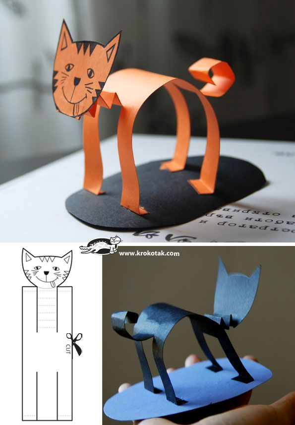 Как сделать объемного кота из бумаги