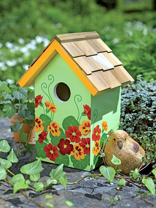 Beautiful-Bird-House-Designs-You-Will-Fall-in--with-43 Paint Woden Houses Designs on