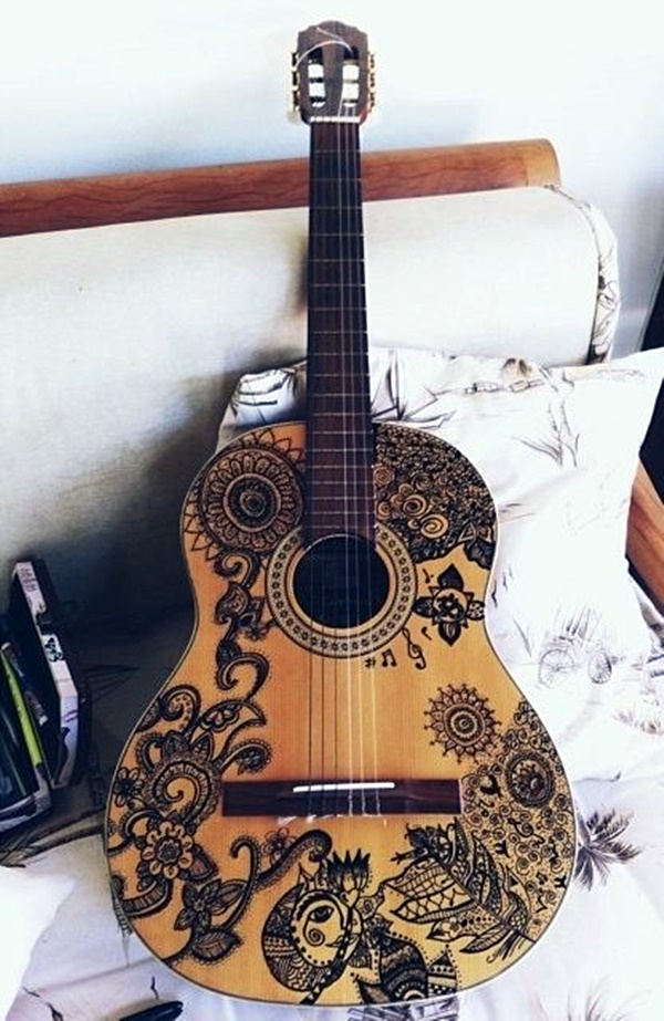 40 beautiful and creative guitar artworks bored art for Acoustic guitar decoration
