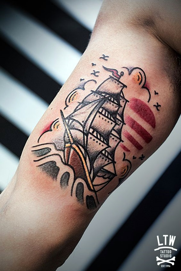 Cute and Meaningful Boat Tattoo Designs (20)