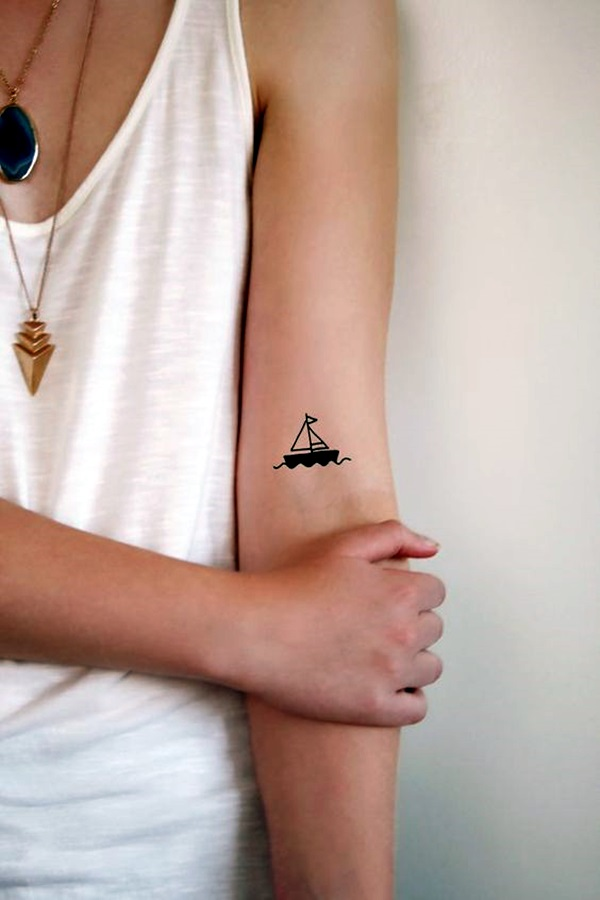 40 cute and meaningful boat tattoo designs bored art rh boredart com simple sailboat tattoo meaning Simple Boat Tattoo Designs