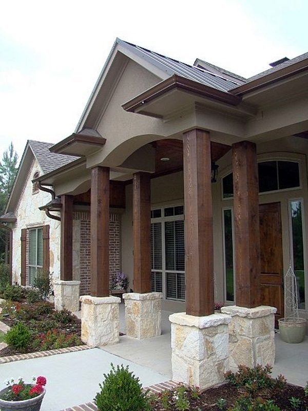 40 glorious pillar designs to give a grand look to your for Limestone homes designs