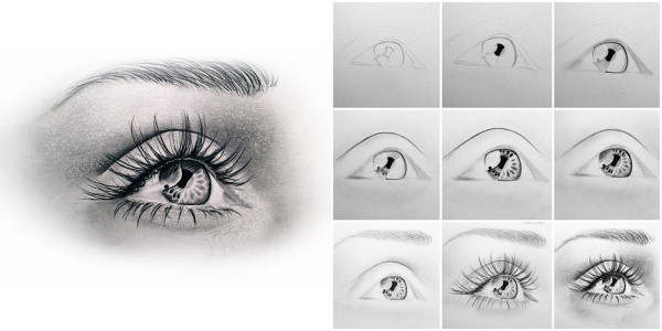 how to draw one eye