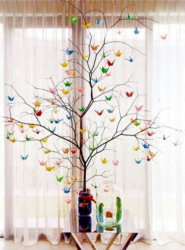 40 inspirational tree branches decoration ideas bored art for Decoration origami