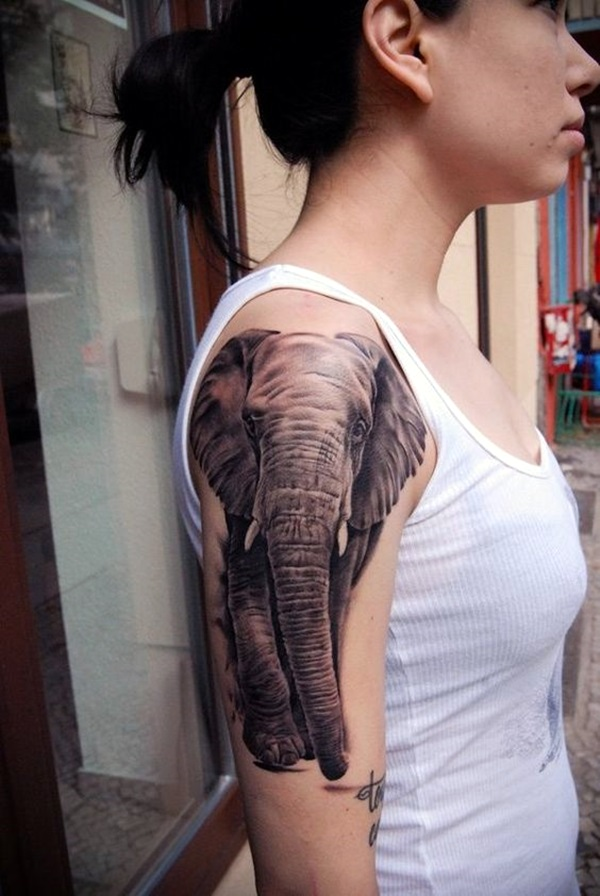 Lovely and Cute Elephant Tattoo Design (12)