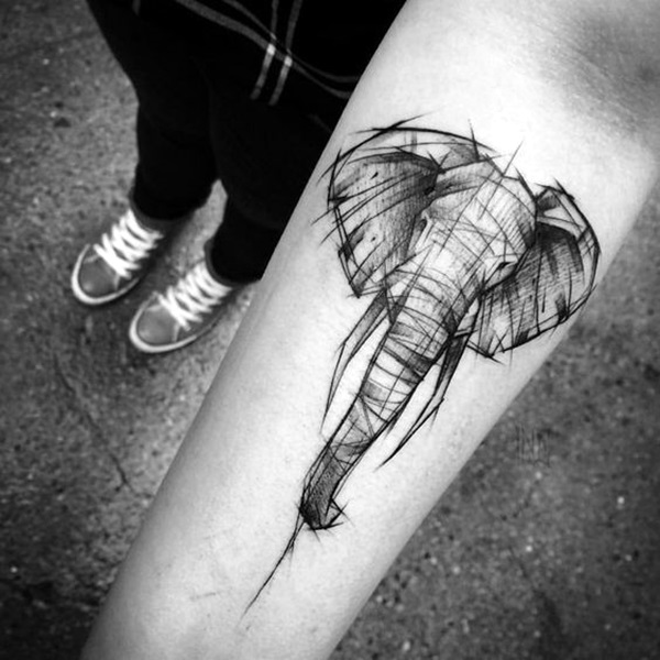 Lovely and Cute Elephant Tattoo Design (16)