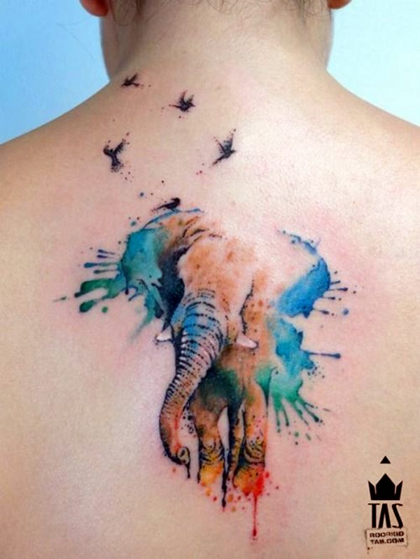 Lovely and Cute Elephant Tattoo Design (19)