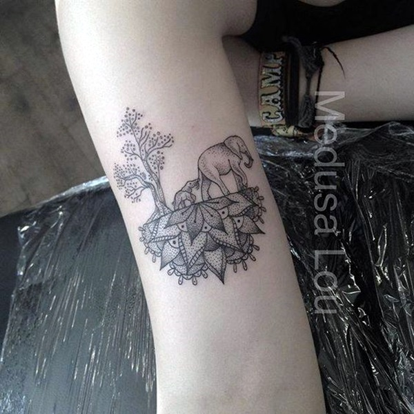 Lovely and Cute Elephant Tattoo Design (25)
