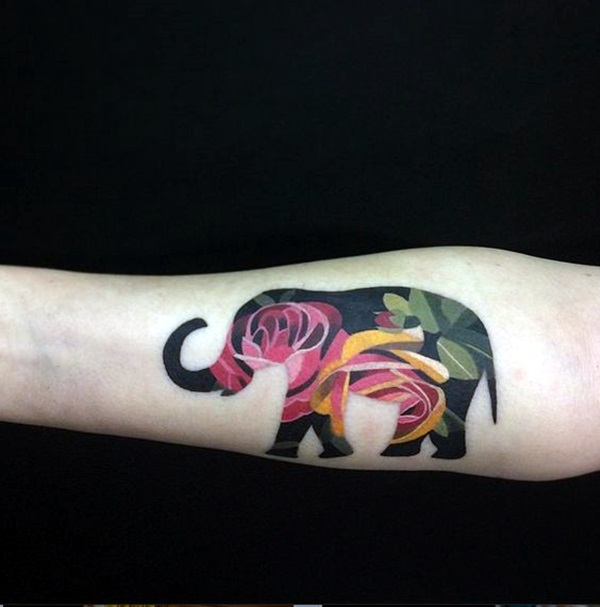 Lovely and Cute Elephant Tattoo Design (39)