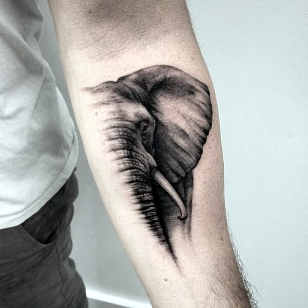Lovely and Cute Elephant Tattoo Design (41)