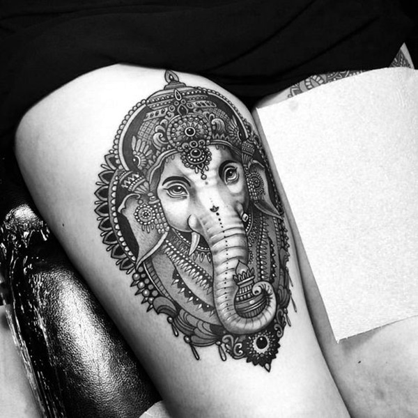 Lovely and Cute Elephant Tattoo Design (42)
