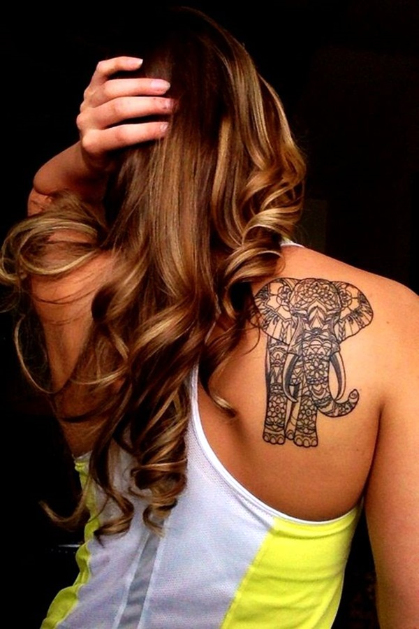 Lovely and Cute Elephant Tattoo Design (43)