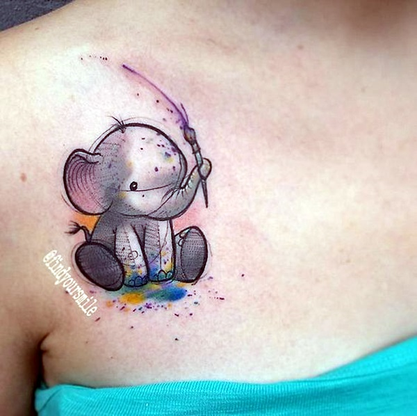 Lovely and Cute Elephant Tattoo Design (8)