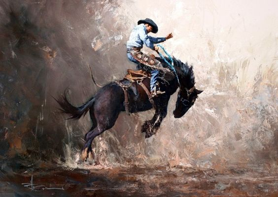 Intense Native American Horse Oil Painting