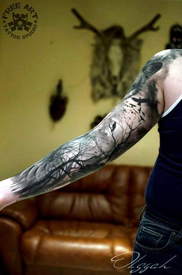 40 deep and super cool forest tattoo ideas bored art for Cool forearm tattoos