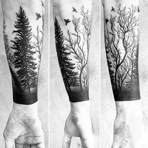 Татуировки на предплечье мужские лес