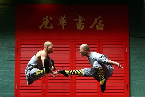 LONDON, ENGLAND - FEBRUARY 23: Shaolin monks pose for a photograph in Chinatown on February 23, 2015 in London, England. The monks practice Shaolin Kung Fu which is believed to be the oldest institutionalised style of kung fu and are demonstrating their skills while in the UK. (Photo by Carl Court/Getty Images)