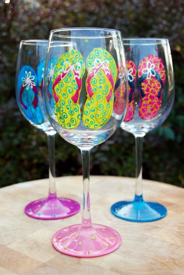 40 artistic wine glass painting ideas photofun4ucom for Type of paint to use on wine glasses
