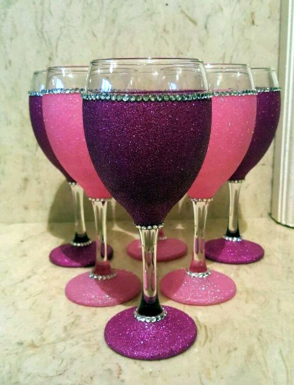 40 artistic wine glass painting ideas bored art for What paint do you use to paint wine glasses