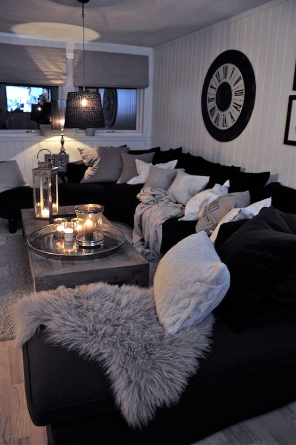 40 grey living room ideas to adapt in 2016 bored art for Black white and blue living room ideas