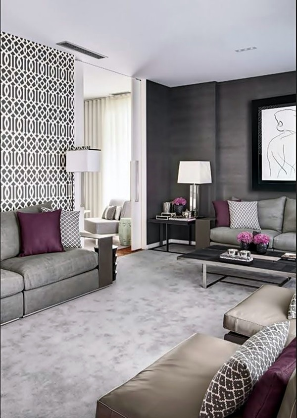 40 grey living room ideas to adapt in 2016 bored art for Plum living room ideas