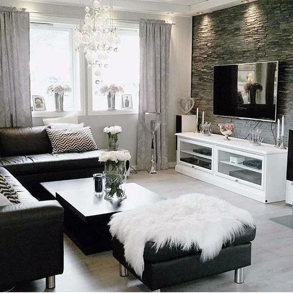 40 grey living room ideas to adapt in 2016 bored art for Grey black and white living room