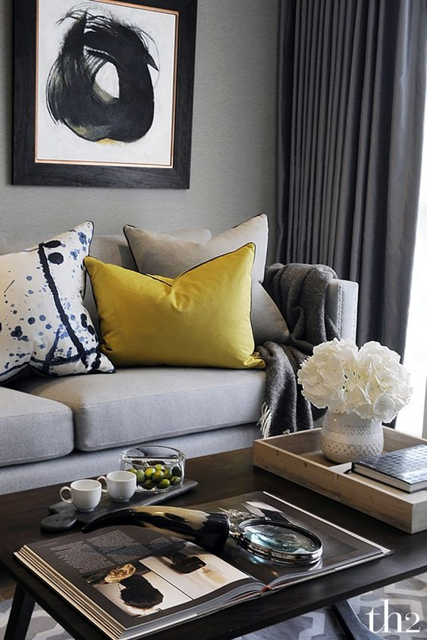 40 grey living room ideas to adapt in 2016 bored art for Yellow modern living room ideas