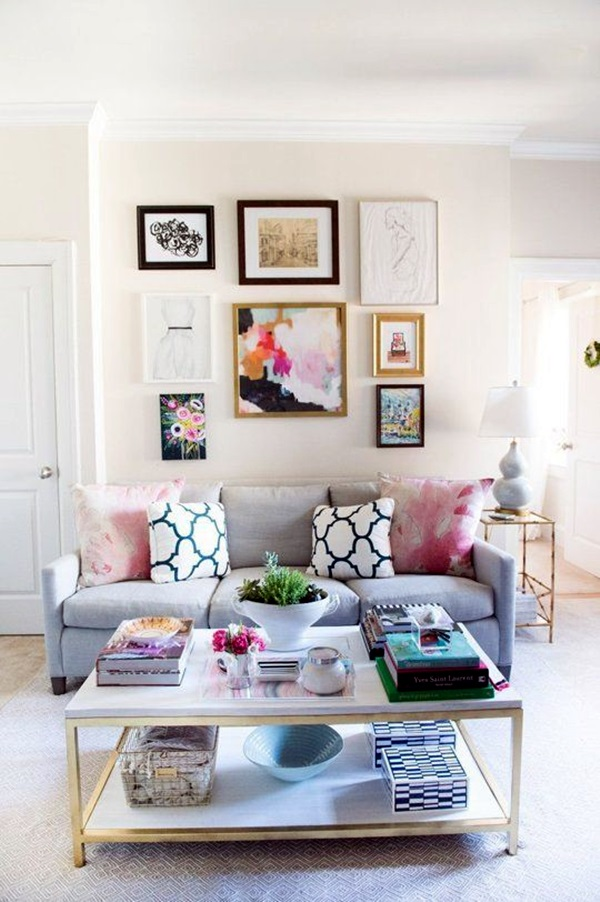 40 simple but fashionable living room wall decoration - Family room wall ideas ...