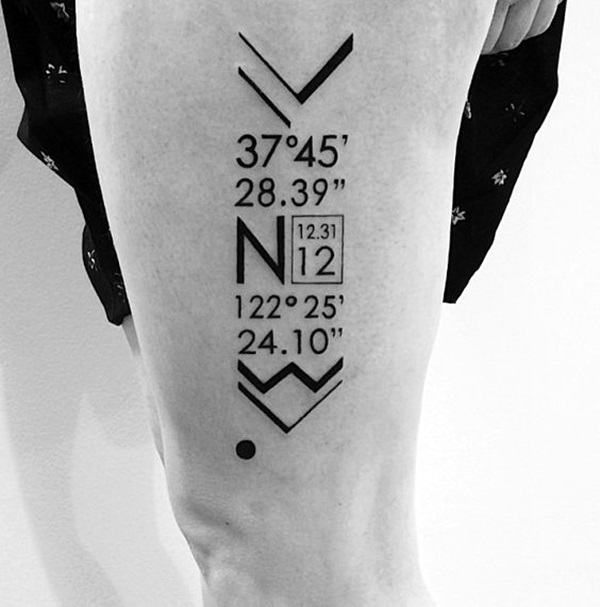 coordinates tattoo Ideas to Mark a Memory on Body (4)